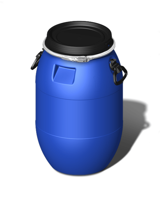 Бочка пластиковая с крышкой, с ручками, с обручем 60 литров